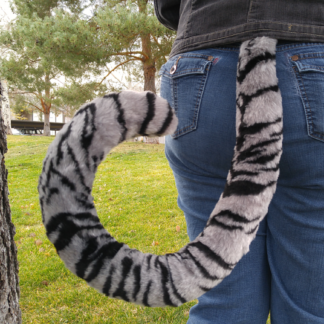 furry silver tiger costume tail