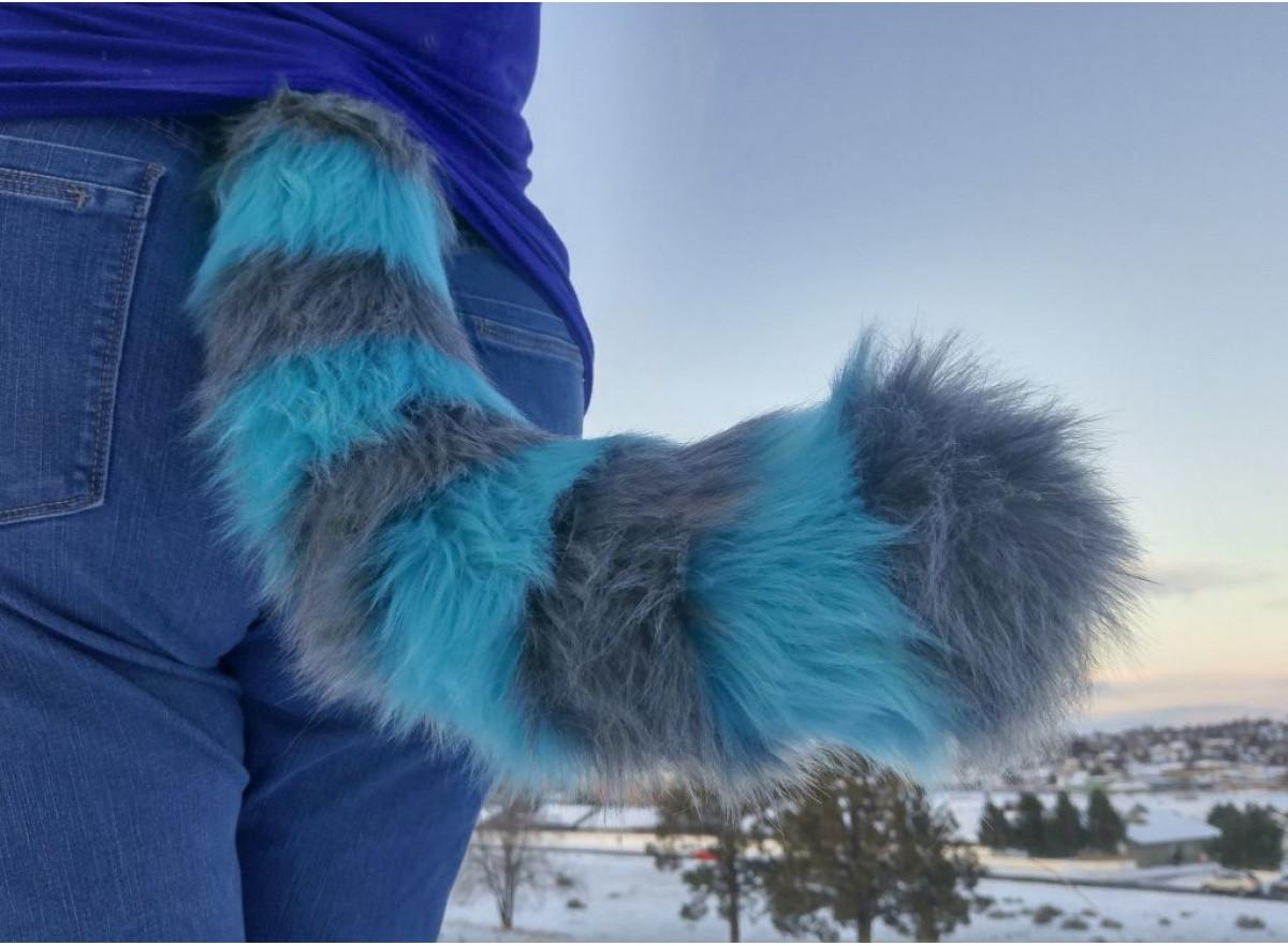 Furry Cheshire Cat Costume Tail Blue Mini 22 Anthrowear